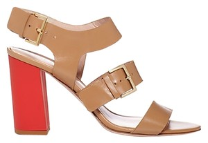 Kate Spade Calf Leather Upper. Adjustable Ankle And Foot Straps With Buckle Closures. Leather Lining. Lightly Padded Leather Block Beige/Red Sandals