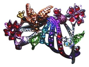 Beautiful Multi Color Peacock Rhinestone Brooch