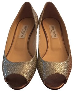 Jimmy Choo Glitter Fabric/Silver/Gold Wedges