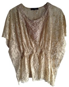 HeartSOUL Sequin Lace Top tan/gold
