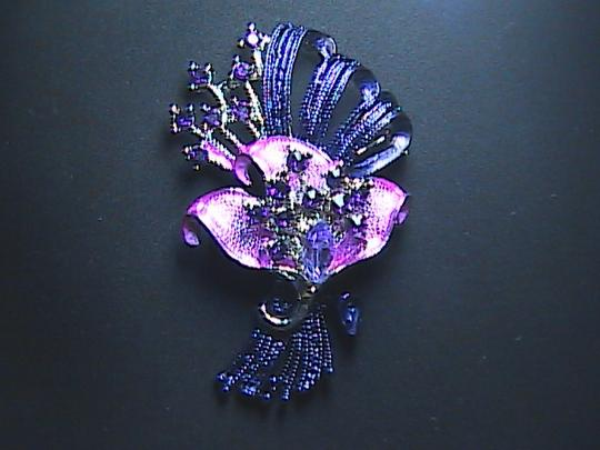 Other Very Gorgeous Purple & Pink Flower Rhinestone Brooch