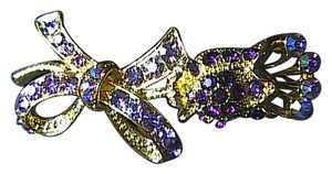 Fashion Gold Tone Bow Rhinestone Brooch