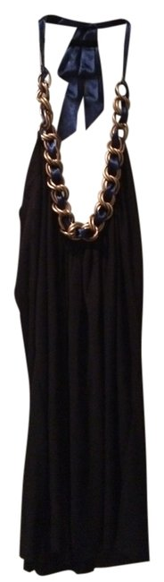 T-Bags Los Angeles Top Black with Chain Neckline & Blue Ribbon