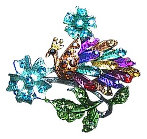 Gorgeous Peacock Multi color Rhinestone Brooch