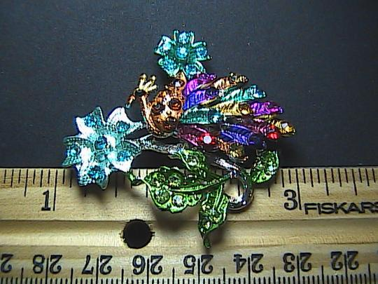 Other Gorgeous Peacock Multi color Rhinestone Brooch Image 2