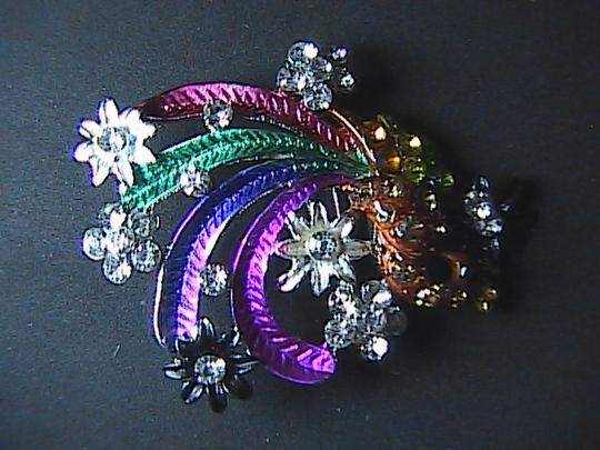 Other Stunning Rhinestone Multi Color Peacock Brooch Image 3