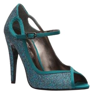 Lulu Townsend Pump Glitter Teal Pumps