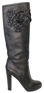 Valentino Floral Knee High 40 10 Studded Black Boots