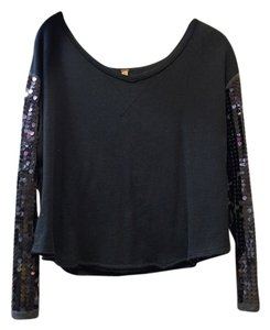 Free People New Year's Glitzy Glitter Top Navy Blue / Charcoal Grey