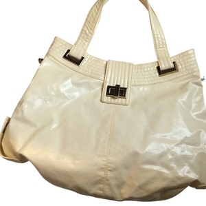 Kooba Leather Turnlock Clasp Convertible Tote in Cream