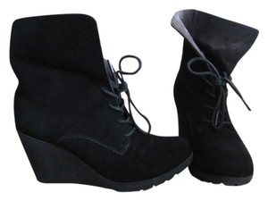 MIA Suede Wedge Black Boots