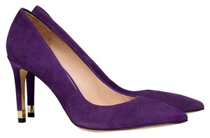 "Tory Burch Self-covered Stiletto Heel 3.33"" (85mm). Suede Upper. Point Toe. Leather Lining And Sole. Padded Insole. Purple Pumps"