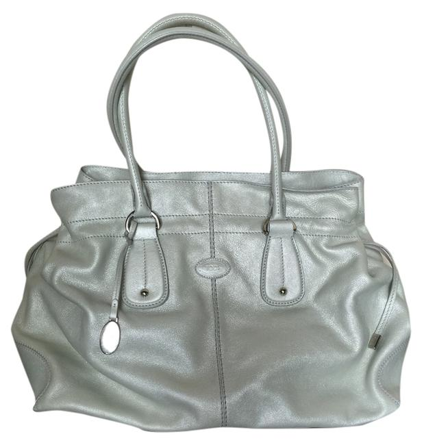 Tod's Restyled Media D Light Green/Gray Leather Tote Tod's Restyled Media D Light Green/Gray Leather Tote Image 1