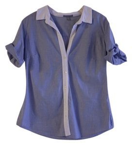 James Perse 3/4 Sleeve Button Down Shirt Chambray