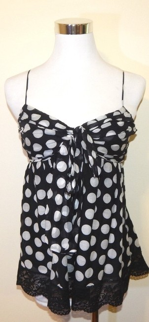 Robert Rodriguez Spaghetti Straps Polka Dot Babydoll Silk Lace Trim Top Black