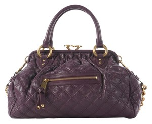 Marc Jacobs Mj.j0814.20 Aubergine Stam Quilted Leather Satchel