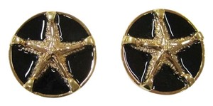 St. John NEW ST. JOHN EARRINGS CLIP-ON STARFISH 22K GOLD ELECTROPLATED BLACK