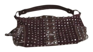 Kathy Van Zeeland Velour Satchel Studded Hobo Shoulder Bag