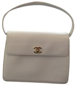 Chanel Top Handle Vintage Leather Leather Gold Satchel in White
