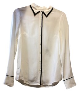 J.Crew Silk Tuxedo Button Down Shirt White / Black