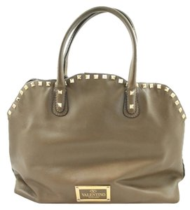 Valentino Studded Leather Rockstud Satchel in Cocoa