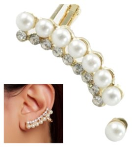 T&J Designs Faux Pearl & Crystal Crawler & Pearl Stud Earrings