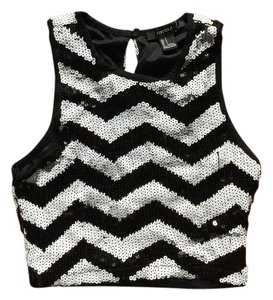 Forever 21 Sequin Crop Top Black and White