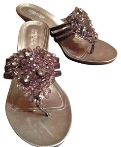 Kenneth Cole Reaction Jeweled Pewter Sandals