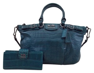 Coach Satchel in Teal Blue