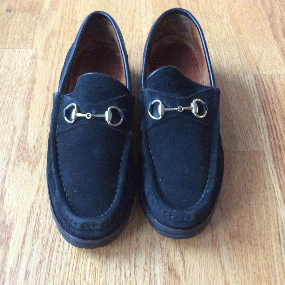 a1974745f80 Gucci Black Loafers Suede with Lug Sole Women s Wedges Size US 8.5 Regular  (M