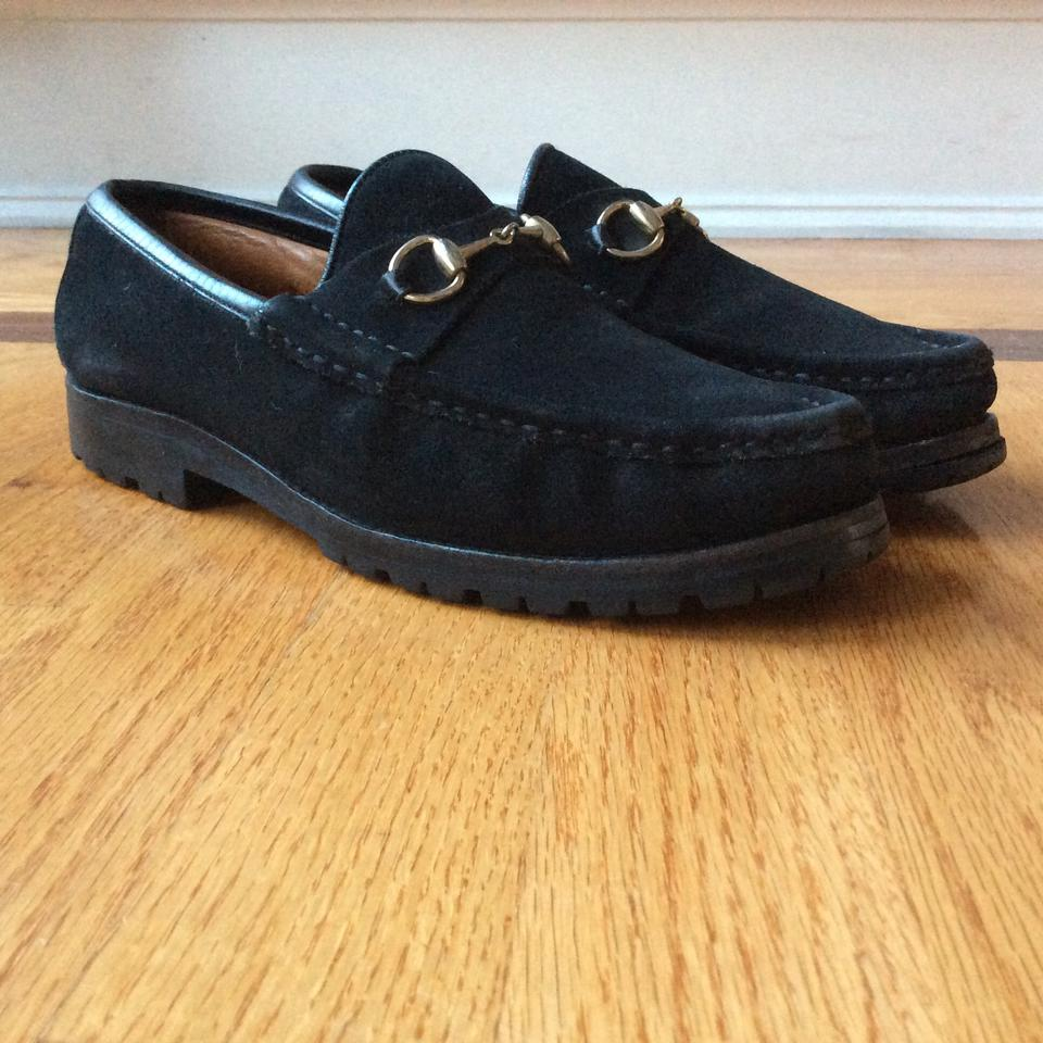 5504622aa3e Gucci Black Loafers Suede with Lug Sole Women s Wedges Size US 8.5 Regular  (M