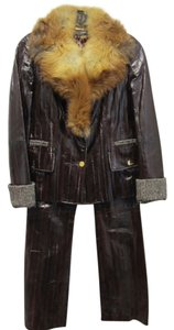 Dolce&Gabbana DOLCE & GABBANA 2PC SET BROWN EEL SKIN JACKET W/RED FOX & LEATHER PANTS 2 4 SM