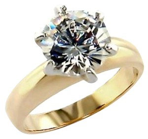 New Size 6, 4 CT Gold Plated CZ Ring