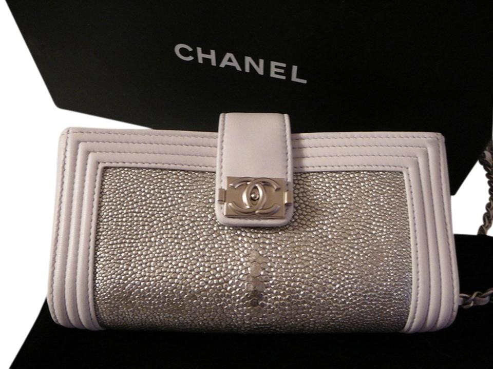 040652aac1d6ad Chanel Boy New Woc Mini Dove Grey and White Stingray Leather Cross ...
