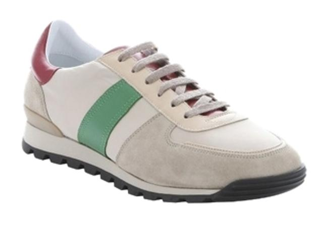 Item - Gray Stone Leather Trimmed Nylon 'kewstoke' Lace-up Sneakers Size US 9