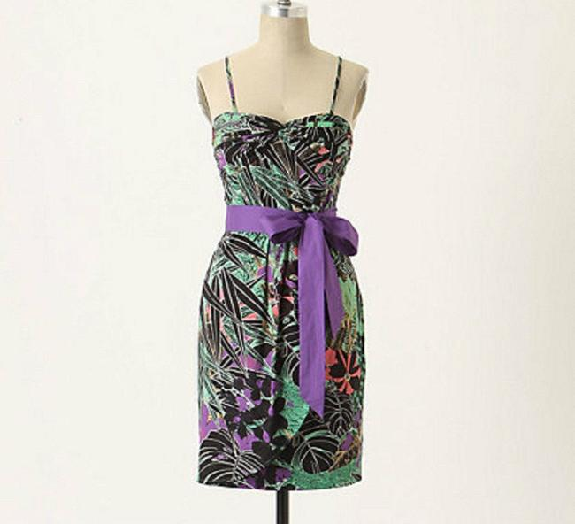 Anthropologie Floral Strapless Bow Dress