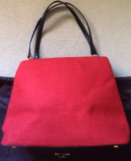 Kate Spade Red Wool Leather Gold Hardware Dust Trim Shoulder Bag