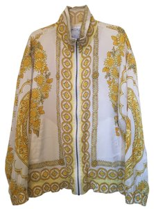 The La Costa Spa Vintage Silk Festival Boho Yellow and White Jacket
