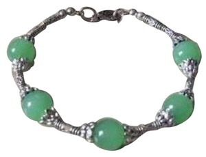 Other New Tibetan Sliver Green Jade Bead Bracelet