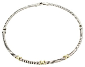 David Yurman 5mm Cable Classics X Choker Necklace in 925 Sterling Silver and 14k Yellow Gold, 15.5