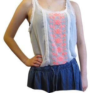 Hollister Summer Bright Top White and neon pink