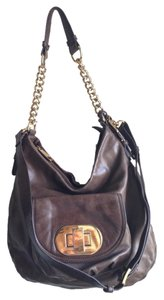 Badgley Mischka Leather Chain Turnlock Pocket Hobo Bag
