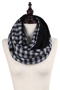 Other Grey Black Double Sided Checker & Faux Sherpa Infinity Scarf