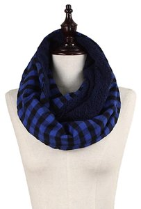 Navy Blue Double Sided Checker & Faux Sherpa Infinity Scarf