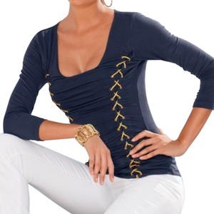 Boston Proper New With Tags Gold Lace Fitted Spandex Top Navy