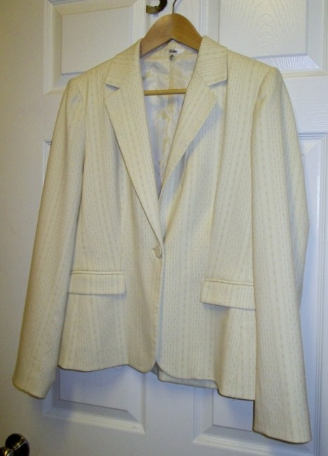 Reba Single Button Pinstripe 12 New W/out Tags Cream Blazer