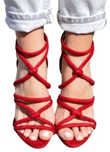Zara Sandals Heels Red Pumps