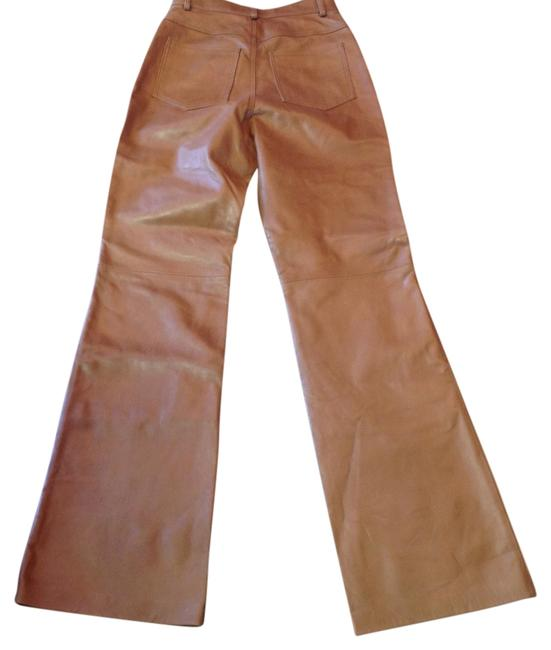 Identify Leather High Waist Never Worn Color Boot Cut Pants Carmel