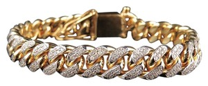 Other Solid 10K Yellow Gold Miami Cuban Link Diamond 9 Inch 11.1MM Bracelet 7.5 Ct