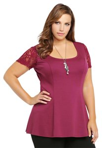 Torrid New Lace 3x 22/24 Top Plum